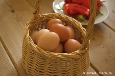 Huevos de Gallinas camperas y pimientos ecológicos en Granja San Miguel (Salem)